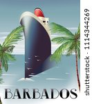 barbados cruise travel poster... | Shutterstock . vector #1114344269