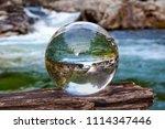 crystal glass ball sphere... | Shutterstock . vector #1114347446