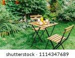 morning breakfast in green...   Shutterstock . vector #1114347689