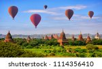 hot air balloon over pagodas at ... | Shutterstock . vector #1114356410