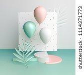 3d render balloons on white... | Shutterstock . vector #1114371773