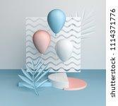 3d render balloons on wavy... | Shutterstock . vector #1114371776