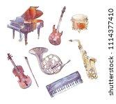 musical instruments watercolor...   Shutterstock . vector #1114377410