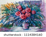 oil painting a bouquet of roses ... | Shutterstock . vector #1114384160