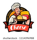 happy chef with cheese in hand. ... | Shutterstock .eps vector #1114396988