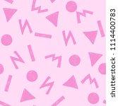 pink memphis art seamless... | Shutterstock . vector #1114400783