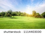 father and children play... | Shutterstock . vector #1114403030
