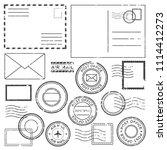 old postal letter with postmark ... | Shutterstock .eps vector #1114412273