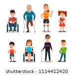 disability people. cartoon sick ... | Shutterstock .eps vector #1114412420