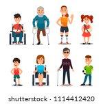 disability people. cartoon sick ... | Shutterstock .eps vector #1114412420
