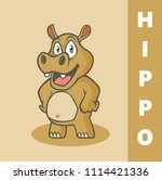 cartoon funny hippo with hand... | Shutterstock .eps vector #1114421336