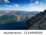 the norwegian lysefjord  a... | Shutterstock . vector #1114440038