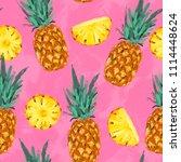 seamless summer pineapple... | Shutterstock . vector #1114448624