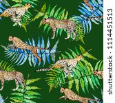 tropical leaves and cheetah... | Shutterstock . vector #1114451513