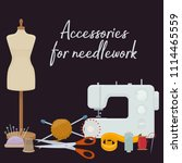 set of tools for needlework and ... | Shutterstock .eps vector #1114465559