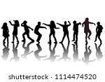 group of children silhouettes...   Shutterstock . vector #1114474520