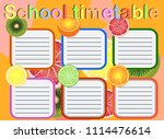 school timetable  a weekly... | Shutterstock .eps vector #1114476614