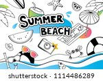summer doodle symbol and... | Shutterstock .eps vector #1114486289