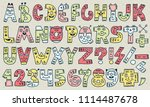abc letters and numbers doodle... | Shutterstock .eps vector #1114487678