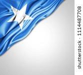 somalia flag of silk with... | Shutterstock . vector #1114487708