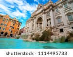 beautiful fountain de trevi in... | Shutterstock . vector #1114495733
