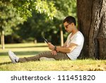 student using web on his tablet | Shutterstock . vector #111451820