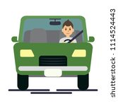 man driving green car on the... | Shutterstock .eps vector #1114524443