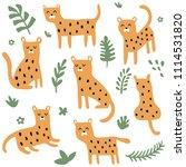 vector set of cute leopards in... | Shutterstock .eps vector #1114531820