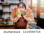 golden bitcoin  cryptocurrency  ... | Shutterstock . vector #1114544714