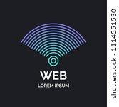 wireless network sign on dark... | Shutterstock .eps vector #1114551530