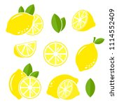 lemon fruits with slices and... | Shutterstock .eps vector #1114552409