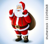 cartoon santa claus smiling red ... | Shutterstock .eps vector #111456068