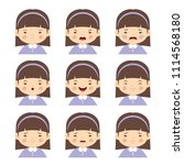 set of cartoon girl with... | Shutterstock .eps vector #1114568180