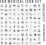 vector medical icon set of 100... | Shutterstock .eps vector #1114573550