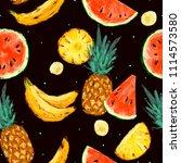 seamless summer watermelon ... | Shutterstock . vector #1114573580