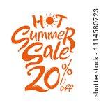 hot summer sale. 20  off. hand... | Shutterstock .eps vector #1114580723