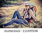 beautiful girl tourist making... | Shutterstock . vector #111459248