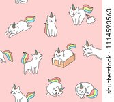 seamless cute unicorn cat... | Shutterstock .eps vector #1114593563