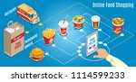 isometric fast food online... | Shutterstock .eps vector #1114599233