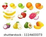set fruits. cherry  lemon  lime ... | Shutterstock .eps vector #1114603373