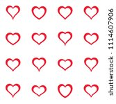 vector simple red heart icons... | Shutterstock .eps vector #1114607906