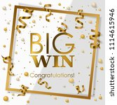 gold big win in gold frame with ... | Shutterstock .eps vector #1114615946