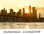 new york cityscape at sunset.... | Shutterstock . vector #1114623749