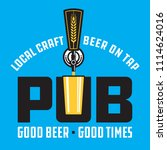 pub craft beer vector design.... | Shutterstock .eps vector #1114624016