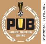 pub craft beer vector design.... | Shutterstock .eps vector #1114624019