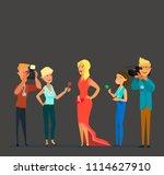 celebrity and journalists.... | Shutterstock .eps vector #1114627910
