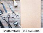 old vintage barbershop tools on ... | Shutterstock . vector #1114630886