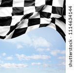 checkered flag and blue sky | Shutterstock . vector #1114634144