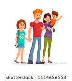 happy family. dad  mom  son... | Shutterstock .eps vector #1114636553