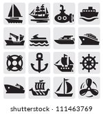 vector black boat and ship... | Shutterstock .eps vector #111463769